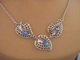 Sterling Silver Necklace and Matching Screw On Earrings set with Blue Peardrop Shaped Jewels (SOLD)